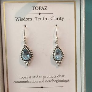 Faceted Blue Topaz & 925 Sterling Silver Earrings